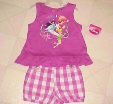 Girls Outfit 24 Mo Disney Tinker Bell Purple Sleeveless Top Plaid Shorts
