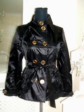 SIZE UK 8 BLACK SHIMMER PVC FAUX LEATHER LOOK STYLISH MILITARY JACKET COAT MAC