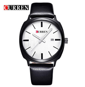 Curren 8212D-1-Black/White Leather Strap Watch