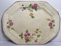 Edwin M Knowles Vitreous 32-4 Serving Platter Tray Pink & Yellow Flowers Very