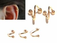 16G Gold Plated Single Spiral Twister Barbell Lip Cartilage Tragus Earring Belly