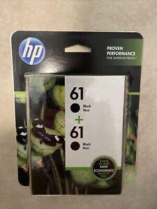 HP ORIG MFG 61 TWIN PACK BLACK INK CARTRIDGES NEW FRESH SEALED  01/2023