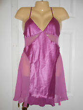 VICTORIA'S SECRET LAVENDER LILAC PURPLE SATIN & SHEER NIGHTGOWN  SZ S EUC