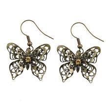 Vintage Estilo 3d 3 Capas Bronce recorte Mariposa encanto pendientes