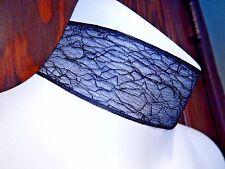 BLACK COBWEB RIBBON CHOKER spider web veins mesh band lace gothic neklace O3