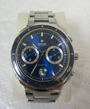 "MEN'S RADO D-STAR 200 AUTOMATIC CHRONOGRAPH SS 44mm WATCH 7"" SWISS MADE 27J"