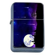 Shooting Star Moon Em1 Flip Top Oil Lighter Wind Resistant With Case