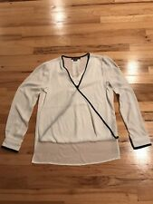 NWOT Ladies Suzy Shier White/black Trim Long Sleeve Blouse Size XS