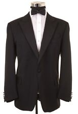 Daks London Made in UK Black Wool Formal Tuxedo 2pc Suit Jacket Pants 44 R