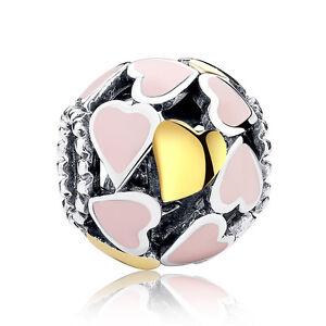 Abundance Of Love Pink Enamel 925 Sterling Silver Bead Charm Fit Bracelet Bangle