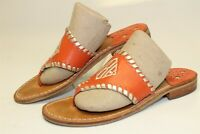 Jack Rogers Womens 6 M Orange Leather Monogrammed Thongs Sandals Flats Shoes