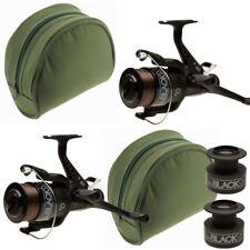 Carp Reel x2 Carp Fishing Bait Runner All Black Lineaeffe 60 with Reel Cases