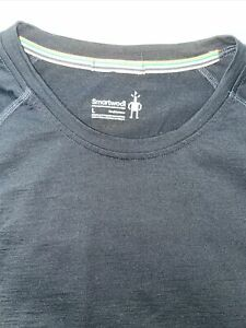 Smartwool LARGE BLACK Shirt Mens Merino Wool Nylon Base Layer Long Sleeve