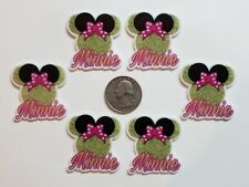 6 Pcs Lot Minnie Mouse Flatback Resin Cabochon Hair Bow Center Supply.