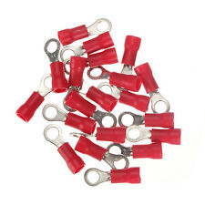 20Pcs Red Ring Insulated Wire Connectors Electrical Crimp Terminals 18-22AWG M4