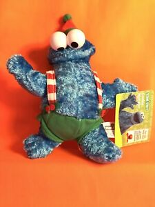 "Sesame Street Christmas Cookie Monster Plush Toy Doll 7"" Tall Fisher-Price 2007"