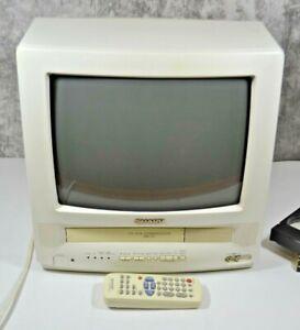 "Sharp 13VT-L150 13"" CRT White TV VCR VHS Tape Player Combo Retro Gaming w/Remote"