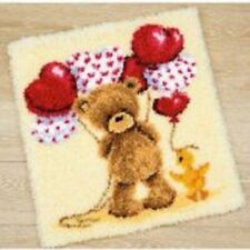"""Latch Hook Rug Kit""""Teddy and Balloons"""" 55x60cm"""