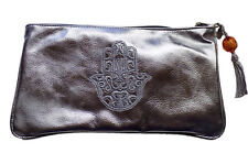 Cosmetic Makeup Faux Leather Moroccan Pencil Pouch Purse Wallet Hamsa Silver