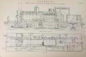 ANTIQUE PRINT DATED C1870'S LOCOMOTIVE BOGIE & RADIAL TANK ENGINE TRAINS ART