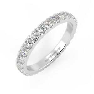 Clearance 1.00 Carat Round Diamond Micro Pave Set Full Eternity Ring, White Gold