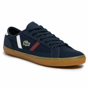 Lacoste Men Low Top Casual Sneakers Sideline 319 Size US 9 Navy Dark Red White