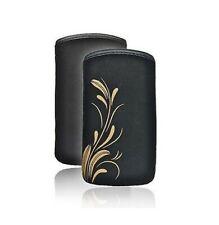 Housse Pochette Etui Aspect Cuir haut de gamme IPHONE 4 4S - Fleurs dorées