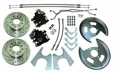 64-77 Gm 10 12 bolt Rear Axle End Disc Brake Conversion Kit Cross Drilled Rotors