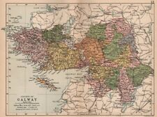 COUNTY GALWAY. Antique county map. Connaught. Ireland. BARTHOLOMEW 1882