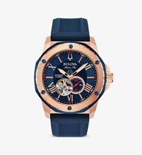 Bulova 98A227 Marine Star Silicone Strap Watch 45mm Men's Automatic Watch - Two-Tone/Blue
