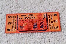 Vintage 1960 Kansas Jayhawks basketball ticket v. Iowa State Cyclones - rare