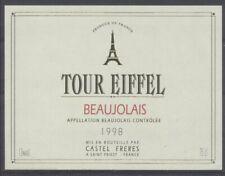 THEME TOUR EIFFEL étiquette de vin BEAUJOLAIS 1998