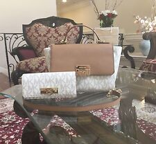 NWT,MICHAEL KORS MK MONOGRAM TINA MEDIUM CHAIN SATCHEL CROSSBODY HANDBAG+WALLET