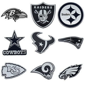 NFL All Teams Premium Chrome Plated Solid Metal Car Auto Emblems Official Logo