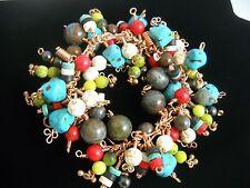 Turquoise, Gemstone, Copper Native American Style Charm Bracelet NEW