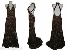 Party Time Womens 2 Dress Gown Halter Train Brown Coco Gold Beads Formal Prom