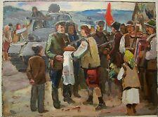 Russian Ukrainian Soviet Oil Painting army WW2 red tank meeting soldier