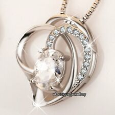 CHRISTMAS GIFTS FOR HER 925 Silver Crystal Heart Necklace Wife Mum Sister Women