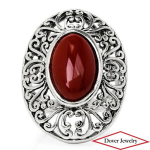 Estate Jasper Sterling Silver Filigree Cocktail Ring 10.6 Grams NR
