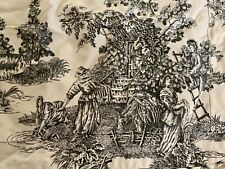 Waverly  Home Country Life Toile Standard Pillow Sham Black White Fall Harvest