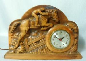 Vintage Equestrian Horse Steeplechase Carved Wood Clock