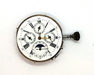 Funktionsfähiges Taschenuhrwerk mit Repetition Mondphase Chronograph & Datum