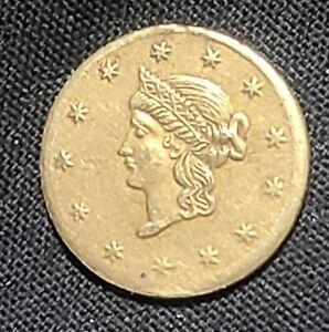 1864 Liberty Head Gold Dollar US $1  Coin Token Rare (No mint)