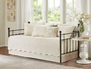 IVORY MATELASSE 6pc DAYBED COVERLET SET : FRENCH COTTAGE QUILT TILE BEDDING
