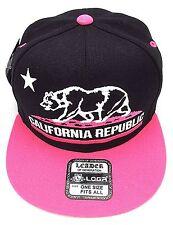 CALIFORNIA REPUBLIC Snapback Cap Hat CALI Bear Flag Black Pink Caps Hats NWT