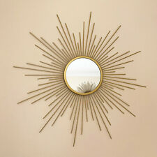 Vintage Gold Metal Frame Sunburst Home Decorative Round Glass Wall Mirror 60cm