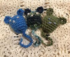 Set of 3 Catnip Mice Hand-Crocheted Organic Cat Toy Blue Green Multi Free ship