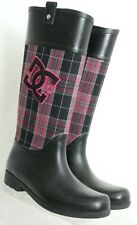 DC Shoes Chelsea Black Embroidered Plaid Rain Boots 303120 Women's US 10