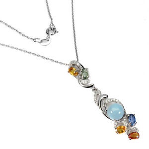 Unheated Round Blue Aquamarine 7mm Sapphire Cz 925 Sterling Silver Necklace 18