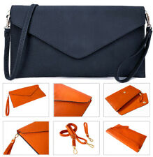 Navy Blue Womens Oversize Clutch Bag Ladies Large Envelope Purse Evening Leather